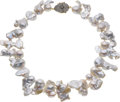 Estate Jewelry:Necklaces, Freshwater Cultured Pearl, Colored Diamond, Gold Necklace. ...