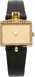 Estate Jewelry:Watches, Corum Lady's Diamond, Gold, Leather Strap Wristwatch, circa 1980....