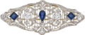 Estate Jewelry:Brooches - Pins, Edwardian Diamond, Sapphire, Platinum Brooch. ...