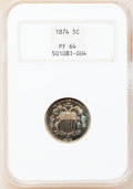 Proof Shield Nickels: , 1874 5C PR64 NGC. NGC Census: (88/116). PCGS Population (111/121).Mintage: 700. Numismedia Wsl. Price for problem free NGC...