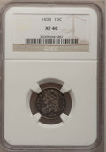 Bust Dimes: , 1833 10C XF40 NGC. NGC Census: (8/239). PCGS Population (26/243).Mintage: 485,000. Numismedia Wsl. Price for problem free ...