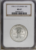 Commemorative Silver: , 1936-D 50C Columbia MS67 NGC. NGC Census: (193/29). PCGS Population(148/13). Mintage: 8,009. Numismedia Wsl. Price: $900. ...
