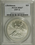 Modern Issues: , 1997-S $1 Jackie Robinson Silver Dollar MS67 PCGS. PCGS Population(23/949). NGC Census: (1/580). Mintage: 30,007. Numismed...