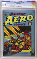 "Golden Age (1938-1955):War, Captain Aero Comics #25 Davis Crippen (""D Copy"") pedigree (HolyokePublications, 1946) CGC VF 8.0 Off-white pages...."