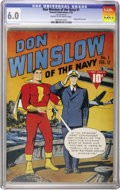 Golden Age (1938-1955):War, Don Winslow of the Navy #1 (Fawcett, 1943) CGC FN 6.0 Cream tooff-white pages....