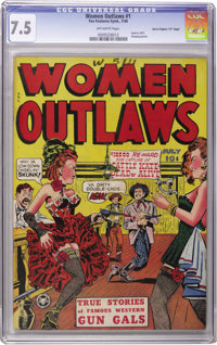 """Women Outlaws #1 Davis Crippen (""""D"""" Copy) pedigree (Fox Features Syndicate, 1948) CGC VF- 7.5 Off-white pages..."""