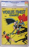 Golden Age (1938-1955):Superhero, World's Finest Comics #19 (DC, 1945) CGC VF- 7.5 Off-white to white pages....