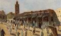 Fine Art - Painting, European:Modern  (1900 1949)  , ALBERT H. SCHMIDT (Swiss, 1883-1970). Djemaa el Fna,Marrakech. Oil on board . 16-1/2 x 27-1/4 inches (41.9 x 69.2cm). ...
