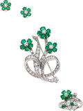 Estate Jewelry:Suites, Emerald, Diamond, Platinum, White Gold Jewelry Suite. ...