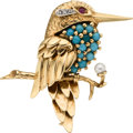 Estate Jewelry:Brooches - Pins, Turquoise, Diamond, Ruby, Cultured Pearl, Gold Brooch, circa 1950. ...