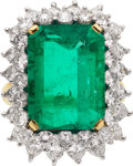 Estate Jewelry:Rings, Emerald, Diamond, Platinum, Gold Ring. ...