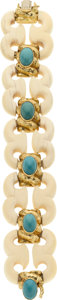 Estate Jewelry:Bracelets, Ivory, Turquoise, Gold Bracelet, David Webb. ...