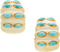 Estate Jewelry:Earrings, Ivory, Turquoise, Gold Earrings, David Webb. ...