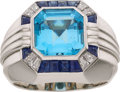 Estate Jewelry:Rings, Gentleman's Blue Topaz, Sapphire, Diamond, White Gold Ring. ...
