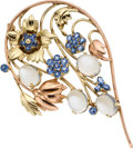 Estate Jewelry:Brooches - Pins, Retro Sapphire, Moonstone, Gold Brooch. ...
