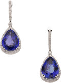 Estate Jewelry:Earrings, Tanzanite, Diamond, White Gold Earrings. ...