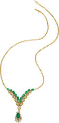 Estate Jewelry:Necklaces, Emerald, Diamond, Platinum, Gold Convertible Necklace. ...
