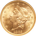 Liberty Double Eagles, 1865 $20 Date in Rim MS62 NGC. FS-301....