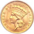 Three Dollar Gold Pieces, 1889 $3 MS64 PCGS....