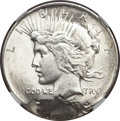 Peace Dollars, Undated $1 Peace Dollar -- Double Struck, Second Strike 80% OffCenter -- MS62 NGC....