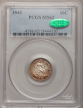 Seated Dimes: , 1845 10C MS62 PCGS. CAC. PCGS Population (14/41). NGC Census:(23/67). Mintage: 1,755,000. Numismedia Wsl. Price for proble...
