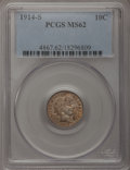 Barber Dimes: , 1914-S 10C MS62 PCGS. PCGS Population (29/124). NGC Census:(14/100). Mintage: 2,100,000. Numismedia Wsl. Price for problem...