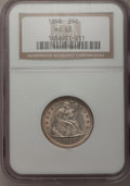Seated Quarters: , 1858 25C MS63 NGC. NGC Census: (48/122). PCGS Population (59/118).Mintage: 7,368,000. Numismedia Wsl. Price for problem fr...