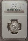 Seated Quarters: , 1865 25C AU50 NGC. NGC Census: (3/26). PCGS Population (5/32).Mintage: 58,800. Numismedia Wsl. Price for problem free NGC/...