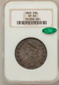 Bust Half Dollars: , 1823 50C VF30 NGC. CAC. NGC Census: (22/598). PCGS Population(27/665). Mintage: 1,694,200. Numismedia Wsl. Price for probl...