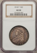 Bust Half Dollars: , 1818/7 50C Small 8 AU50 NGC. NGC Census: (20/134). PCGS Population(13/49). Numismedia Wsl. Price for problem free NGC/PCG...