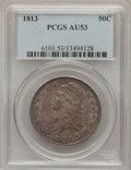 Bust Half Dollars: , 1813 50C AU53 PCGS. PCGS Population (40/191). NGC Census: (33/243).Mintage: 1,241,903. Numismedia Wsl. Price for problem f...