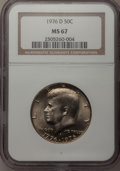 Kennedy Half Dollars: , 1976-D 50C Clad MS67 NGC. NGC Census: (22/0). PCGS Population(26/0). Mintage: 287,565,248. Numismedia Wsl. Price for probl...