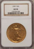Saint-Gaudens Double Eagles: , 1909 $20 AU58 NGC. NGC Census: (216/995). PCGS Population(198/1689). Mintage: 161,282. Numismedia Wsl. Price for problemf...