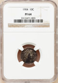 Proof Barber Dimes: , 1904 10C PR64 NGC. NGC Census: (59/78). PCGS Population (83/69).Mintage: 670. Numismedia Wsl. Price for problem free NGC/P...