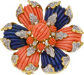 Estate Jewelry:Brooches - Pins, Coral, Lapis Lazuli, Diamond, Gold Pendant-Brooch. ...