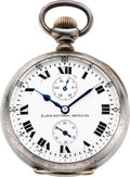 Timepieces:Pocket (post 1900), Elgin Rare Military 21 Jewel Sterling Watch With 40 Hour Indicator,circa 1911. ...