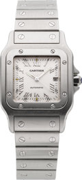 Timepieces:Wristwatch, Cartier Santos Steel Automatic With Date, circa 1990's. ...