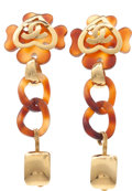 Luxury Accessories:Accessories, Chanel 1995 Spring Faux Tortoise Clover and Heart Runway Earrings.... (Total: 2 Items)