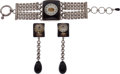 Luxury Accessories:Accessories, Jean Paul Gaultier 1980's Lucite and Gripoix Clock Face Braceletand Glass Drops Earrings. ... (Total: 3 Items)
