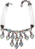 Luxury Accessories:Accessories, Yves Saint Laurent 1980's Gunmetal Aurora Borealis Crystal HeartRunway Necklace. ...