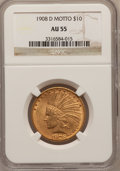 Indian Eagles: , 1908-D $10 Motto AU55 NGC. NGC Census: (39/527). PCGS Population(62/465). Mintage: 836,500. Numismedia Wsl. Price for prob...