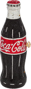 "Luxury Accessories:Bags, Kathrine Baumann Full Bead Coca-Cola Vintage Bottle Minaudiere& Heart Compact, 2.5"" x 7.5"" x 2.5"", Excellent Condition. ..."