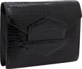 "Luxury Accessories:Bags, Hermes Shiny Black Porosus Crocodile Baccara Clutch Bag, 9"" x 7"" x2"", Excellent Condition. ..."
