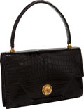 "Luxury Accessories:Bags, Hermes Vintage Black Shiny Crocodile Clio Bag, 9.5"" x 6"" x 2"", GoodCondition. ..."