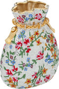 """Luxury Accessories:Bags, Judith Leiber Full Bead Floral Miser's Satchel Minaudiere, 5.5"""" x4"""" x 2"""", Excellent Condition. ..."""