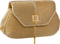 Judith Leiber Metallic Gold Pleated Leather & Snakeskin with Piston Flap Closure and Interior Frame Closure Evening...