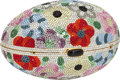 "Luxury Accessories:Bags, Judith Leiber Full Bead Floral Egg Minaudiere, 5.5"" x 3.5"" x 3"",Excellent Condition. ..."