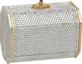 "Luxury Accessories:Bags, Judith Leiber Full Bead Silver Crystal and Gold Small Minaudiere,3.5"" x 3"" x 2.5"", Very Good Condition. ..."