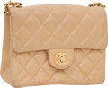 "Luxury Accessories:Bags, Chanel Beige Quilted Lambskin Classic Mini Single Flap Bag withGold Hardware, 6.5"" x 5"" x 2.5"", Very Good Condition. ..."