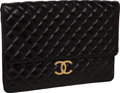 "Luxury Accessories:Bags, Chanel Black Quilted Lambskin Classic Vintage Oversize PortfolioClutch with Gold Chain Strap and Gold Hardware, 15.5"" x 11.5"" x..."